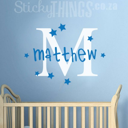 The Monogram Boys Wall Sticker is a monogram capital letter plus your personalised name decal with stars.