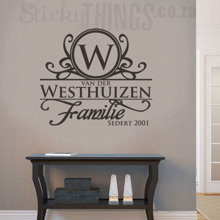 This Afrikaans Surname Wall Art is your personal surname in Afrikaans with an ornate capital letter and the word Familie too.