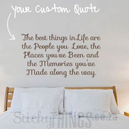 The Custom Wall Decal Quote is your own custom quote made into a decal - up to 20 words.