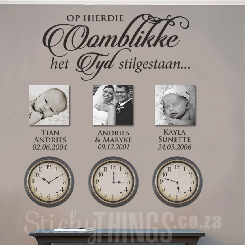 The Oomblikke Muur Kuns Plakker is an afrikaans wall sticker with personalised names and dates too.