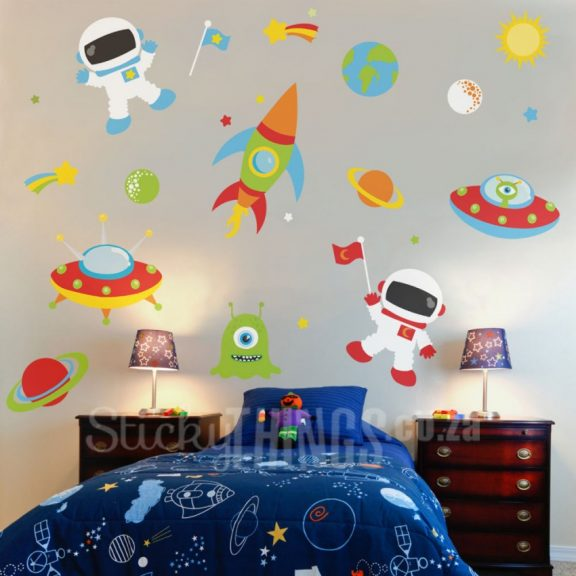 outer space vinyl wall sticker stickythings co za outer space wall decal