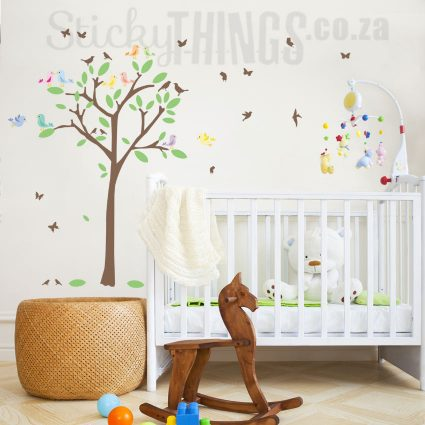 The Love Birds Tree Decal is a tree wall sticker with 10 colourful Birds.