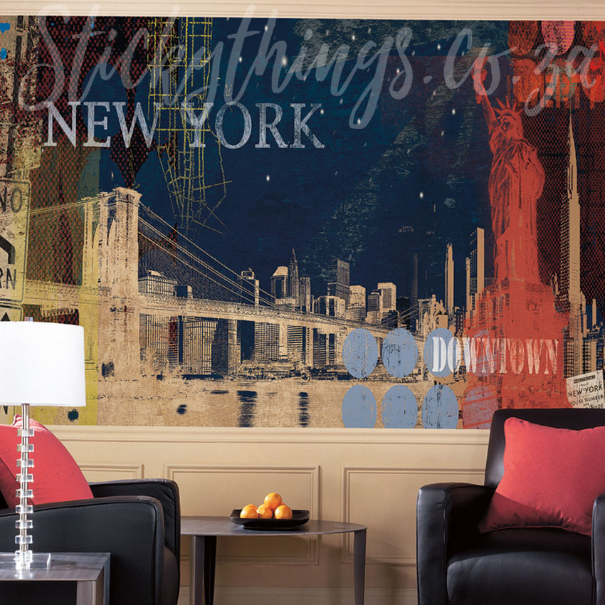New york wallpaper mural stickythings wall stickers for Sticker mural new york