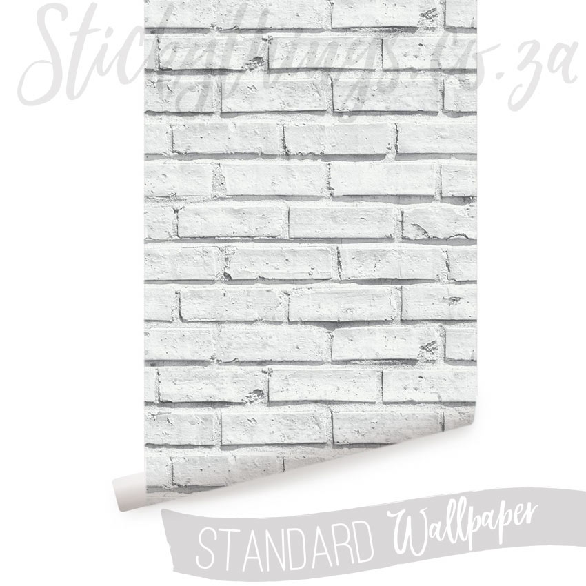 Roll of White Brick Wallpaper