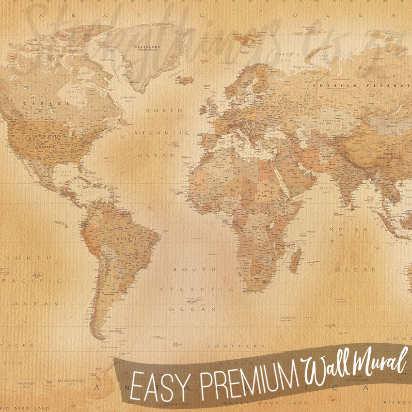 Vintage world map mural old world map wall mural for Antique world map mural