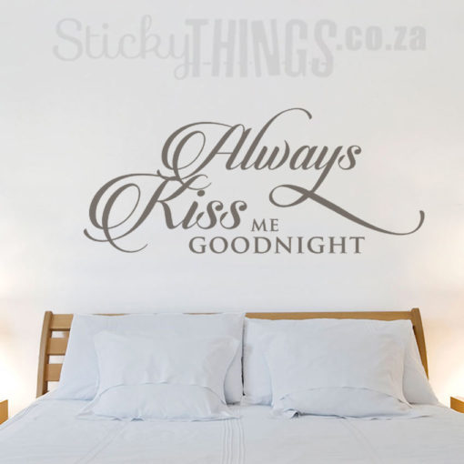 This Always Kiss Me Goodnight Wall Art Sticker spans over 1m and is perfect as a bedroom wall decal