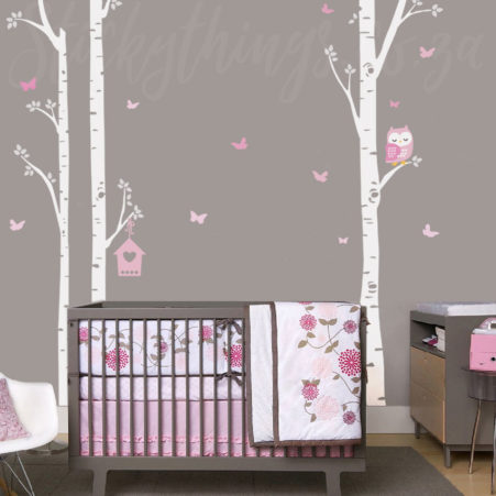 Owl Trees Wall Art Sticker in a baby nursery