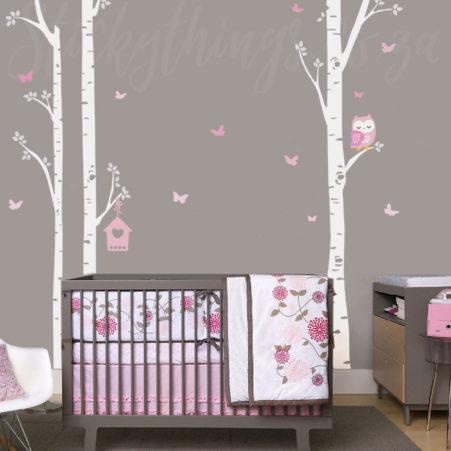 Owl Trees Wall Art Sticker in a baby nursery