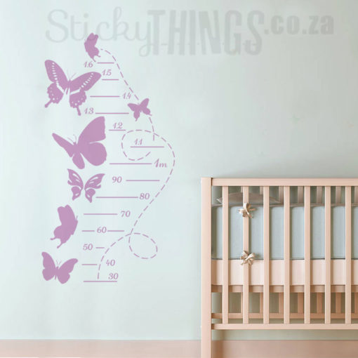 The Butterfly Growth Chart Vinyl Decal is a windy butterfly flight tail with measurement lines up to 1.6m and 7 large butterflies all around the growth chart.