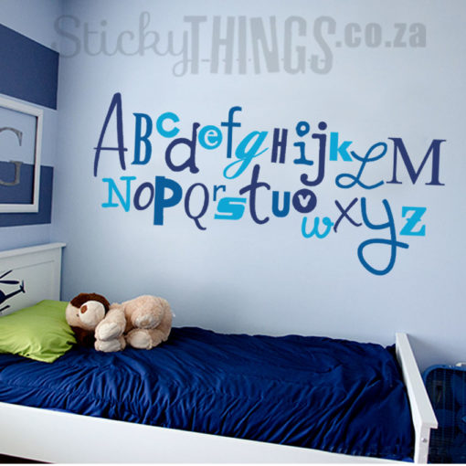 The Childrens Vinyl Wall Art Alphabet is the whole alphabet is different fonts and divided into 3 colours.
