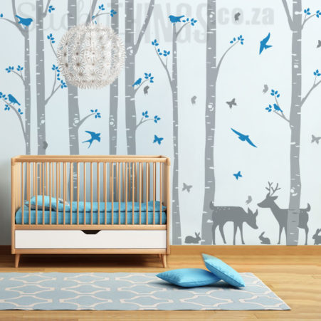 Nursery Wall Decals Birch Forest with 8 trees and 2 deer plus birds and butterflies!