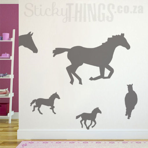 This Horse Wall Vinyl is 5 running horse decals and 1 horse head silhouette wall sticker