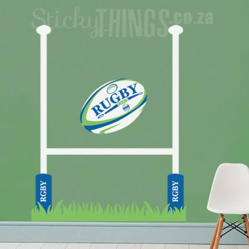 This Rugby Vinyl Wall Decal is a rugby post with grass and pole supports plus a large rugby ball with the word rugby on it.