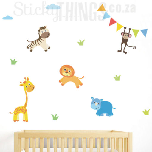 The Baby Safari Wall Art are 5 cute baby safari animal decals, the animals are zebra, giraffe, lion, rhino and monkey.