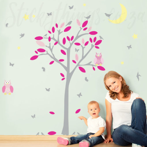 The Sleepy Owl Tree Wall Decal is a tree with 2 owls,leaves, birds, butterflies and a moon and stars too!