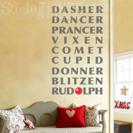 Christmas Wall Vinyl with Reindeer Names