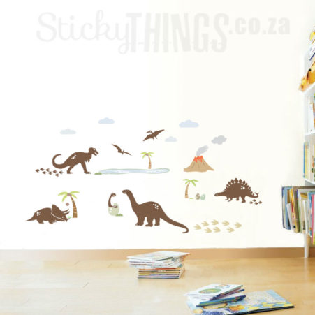 These Dinosaur Wall Decals are 5 large dinosaurs surrounded by vegetation and palm trees and even a volcano!