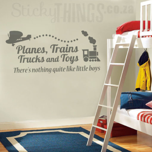 This Boys Wall Art Sticker says Planes trains trucks and toys, there's nothing quite like little Boys! It also have planes, trains, tucks and toys that come with the Boys Decal