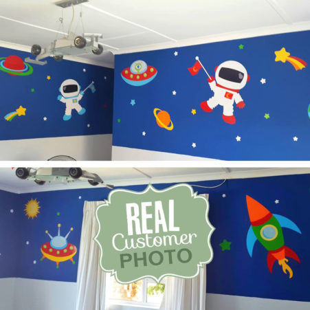 Outer Space Vinyl Wall Sticker with astronauts, planets, stars and UFO's