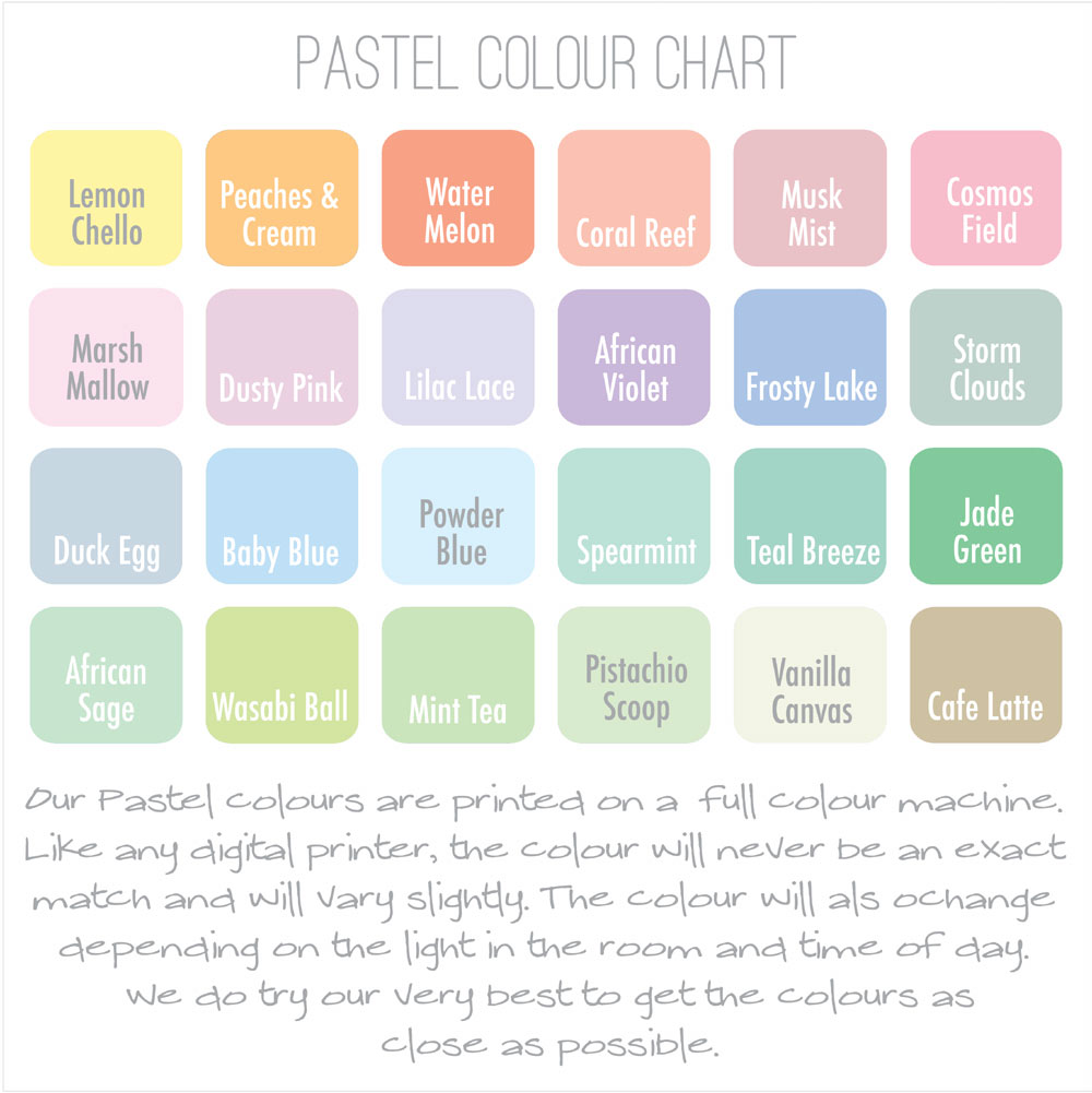 Pastel Decal Colour Chart has 24 colours to choose from