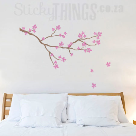 This Cherry Blossom Branch Wall Sticker is nutmeg forest brown with candy floss blossoms