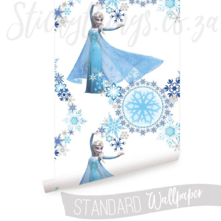 Frozen Wallpaper showing Snow Queen Elsa in blues on white
