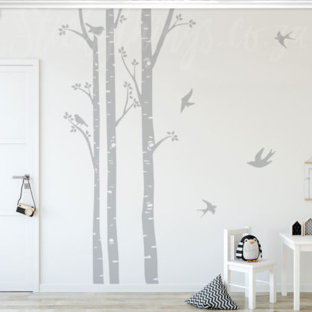 Birch Trees Wall Art in a kids play room