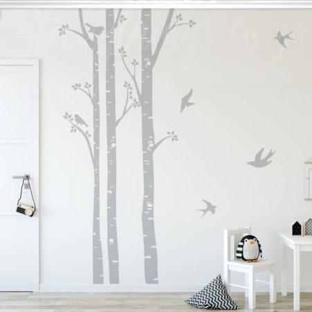 Birch Trees Wall Art in a kids play room
