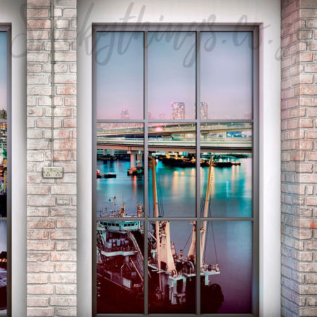 Right window of the Cityscape Wall Mural