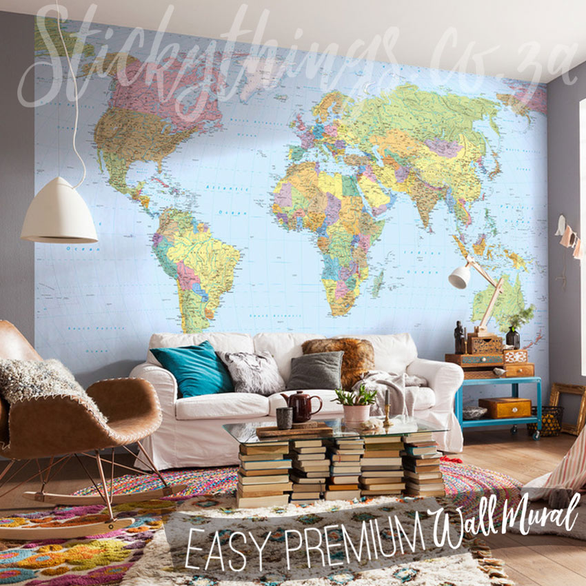Giant world map wallpaper large world map wall art stickythings giant world map wallpaper in a lounge gumiabroncs Choice Image