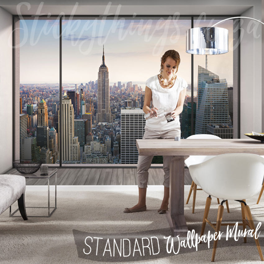 nyc penthouse wall mural window view of new york city wallpaper