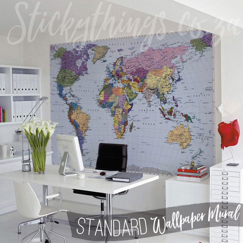World Map Mural In An Office
