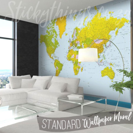 Map of the World Wall Mural in a lounge