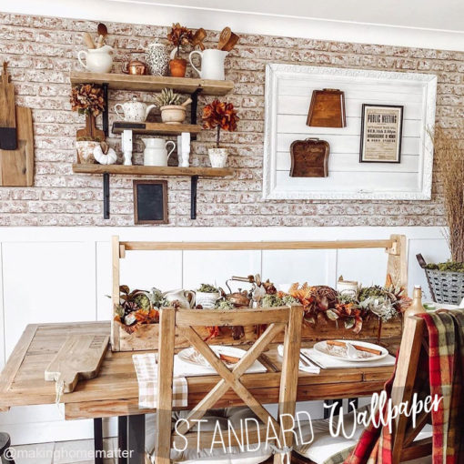 Shabby Chic Kitchen with the real bricks wallpaper