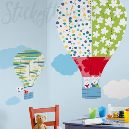 Giant Hot Air Balloon Decals in a Playroom