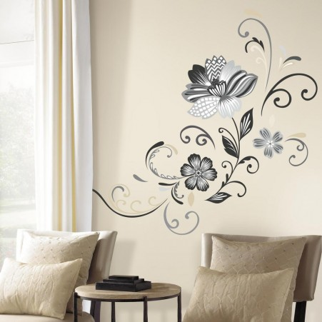 Black White Silver and Gold Floral Decal in a lounge