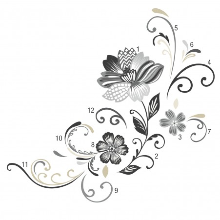 Assembled Black White Flower Scroll Wall Decals