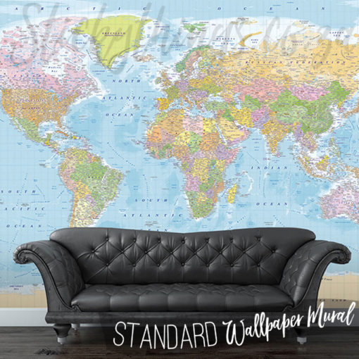 Modern World Map Mural in a lounge