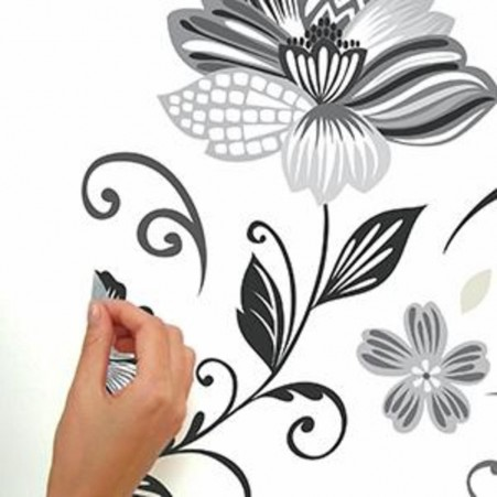 So easy Peel & Stick Black and White Flower Scroll Wall Decals