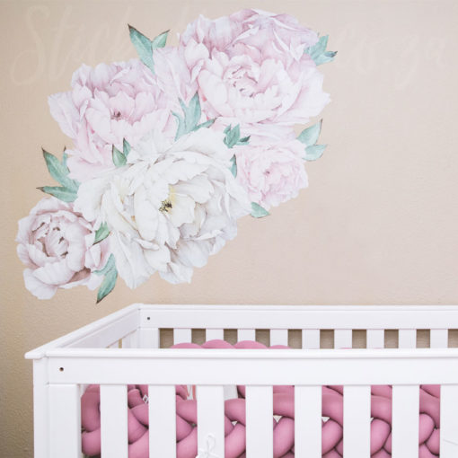Giant Peony Wall Sticker in a Nursery