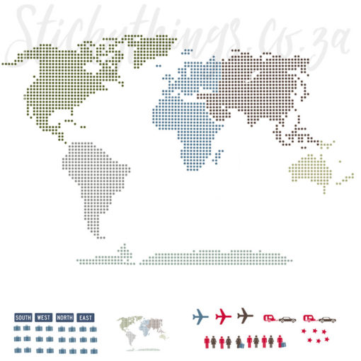 Modern World Map Wall Decal showing the free gifts