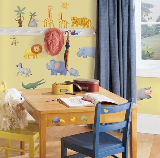 Safari Adventure Decals in a Children's Room