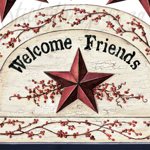 Close up of the Welcome Friends Chalkboard Wall Sticker