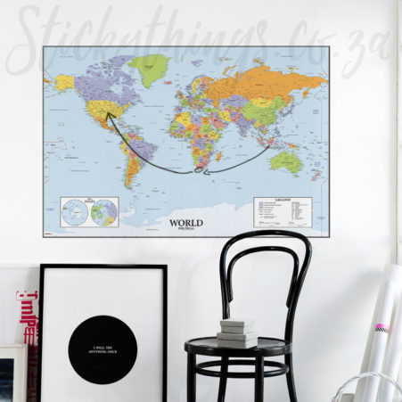 Whiteboard World Map Wall Decal in an office