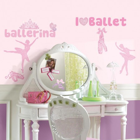 Girls bedroom with Ballet Wall Decals with Glitter
