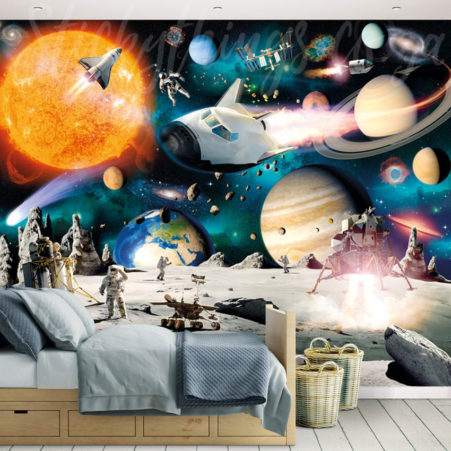 Space Adventure Wall Mural in a kids room