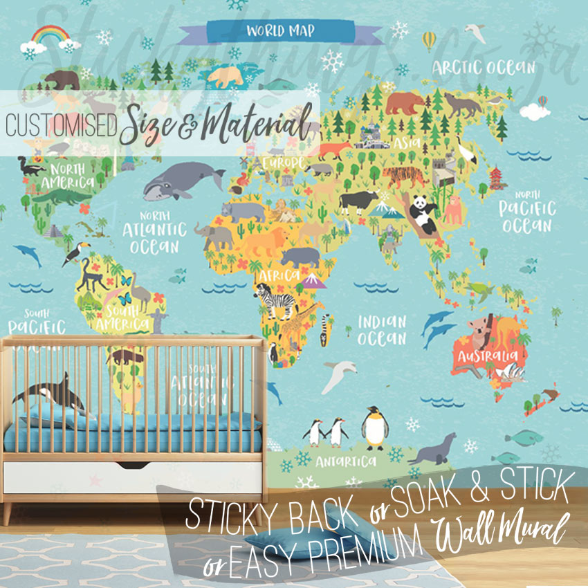 Tailor made kids world map mural super easy kids map wallpaper mural nursery with kids world map mural gumiabroncs Image collections