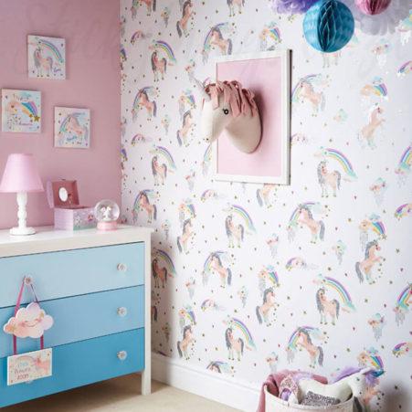 Glitter Unicorn Wallpaper in a girls room