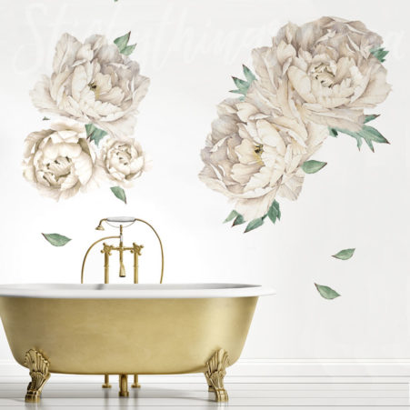Giant Cream Peonies Wall Decal in a bathroom