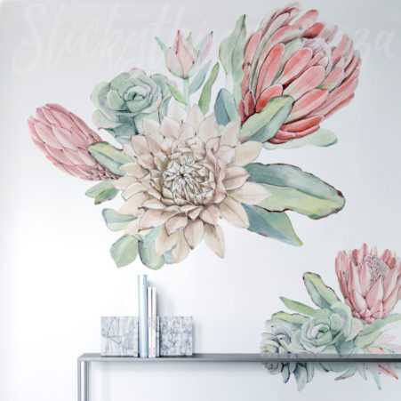 Oversized Floral Protea Wall Decals in a lounge